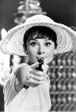 "Picture of Audrey poses in one of the ""invented"" scenes in Paris When It Sizzles, 1962"